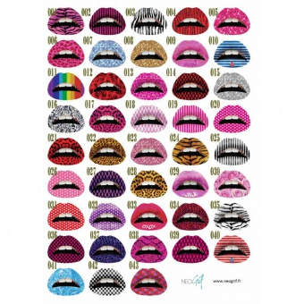 Lot de 50 lip tattoos